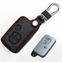 Wholesale Smart Key Covers - Car Genuine Leather Remote Control Car Keychain Key Cover Case For Toyota Camry Crown Prado Smart Key L120