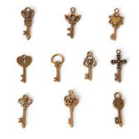 Wholesale 14k Grams - Free shipping Free shipping Mixed Antique Bronze Fashion Key Charms Keys (100 gram =107piece ) jewelry making DIY