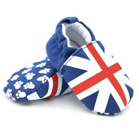 Wholesale Brand New Crib - Wholesale- 2017 Brand New Blue Cotton First Walkers Infant Toddler Crib Shoes Soft Sole Union Flag Print Kid Baby Shoes FCI#