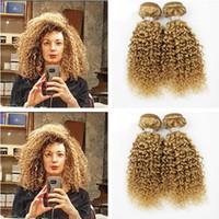 dalgalı ürünler toptan satış-Bal Sarışın # 27 Brezilyalı İnsan Virgin Derin Dalga Brezilyalı Saç Örgü Demetleri Saç Atkı Ürünleri Derin Kıvırcık İnsan saç uzantıları