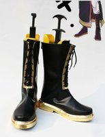 Wholesale Megurine Luka Costumes - Wholesale-Custom Made Japanese Anime Vocaloid Megurine Luka Black & Gold Cosplay Shoes Long Boots For Christmas Halloween Party Birthday