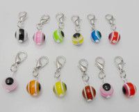 Wholesale Evil Eye Charms Round - 200pcs Vintage Mixed Turkish Evil Eye Charms lobster Clasp Dangle Charms 22mm