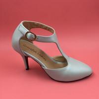 luzes med venda por atacado-Luz Mint T-alça Sapatos de Casamento 7 cm Med Saltos Dedo Do Pé Redondo Acessórios Para Noivas Sapatos Da Bomba Para Noivas Stilettos Bomba de Casamento Sapatos 2017 Novo