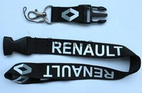 Wholesale renault badge - fashion black Car Logo Keyring Keychain Phone Lanyard For Renault Lanyard ID badge Holders neck strap