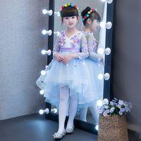 Wholesale Tut Dresses - 2017 autumn and winter new children's dress tut tail princess dress the long girl's wedding dress pearl flower v-neck gown