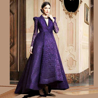 Wholesale High Low Special Occasion Dresses - Elegant Purple Long Sleeve Lace Evening Dresses 2017 V Neck Saudi Arabic Formal Dress Backless High Low Special Occasion Gowns