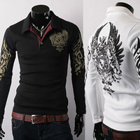 Wholesale Men Eagle Tattoo - Hot Sale New European Style Eagle Tattoo Printing Slim Long sleeve POLOS Shirts Lapel Free Shipping