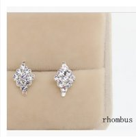 Wholesale Cheap Diamond Shaped Earrings - Beautiful small rhombus shaped Crystal Earrings 925 Silver Plated imitation Diamond rose flower Stud earings Cheap fashion Jewelry for women