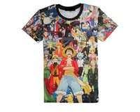 Wholesale Vintage Shirt Print - Mens t shirts fashion 2016 3D T Shirts One Piece Cartoon Animation Casual Man Tshirts Printing Vintage Top T-shirts Tees