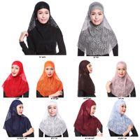 bufanda de las mujeres musulmanas de moda al por mayor-Al por mayor de los capos de encaje musulmanes dama niñas mujeres sombrero bufandas mercancías moda musulmanes 10colors Pañuelos