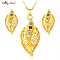 Wholesale Earing Set Crystal - Ruby.Ruth jewelry set wedding fashion sieraden set crystal 18k gold plated bridal african necklace earing dubai perhiasan women 2016