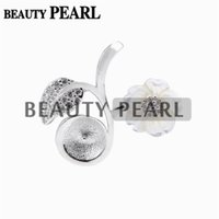 Wholesale Leaf Flower Charms - 5 Pieces Pearl Pendant Findings White Shell Flower Leaf 925 Sterling Silver DIY Charm Pendant Mount