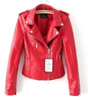 chaqueta bomber roja mujer al por mayor-Chaqueta de cuero al por mayor chaqueta negra roja nueva 2016 bomber motocicleta Chaquetas de cuero mujeres chaqueta de la marca de 2 colores jaqueta couro