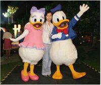 Wholesale Donald Duck Mascot Costumes - Latest hot Donald Duck Daisy mascot costume from 2015 adult cartoon walking free shipping custom clothing