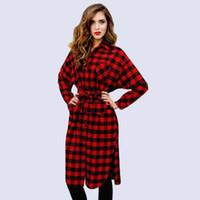 Wholesale American Button Down Shirt - 2016081105 New Autumn Dress 2016 Womens Long Sleeve Plaid Turn-down Collar Vestido Casual Tunic Shirt Dress Plus Size