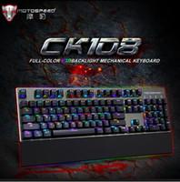 Wholesale Ghosting Computers - Motospeed Origiinal CK108 RGB Anti-ghosting Macro Metal USB Wired Metal 104Key Mechanical backlit Gaming Keyboard For Computer