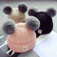 Wholesale children rabbit ball hat for sale - Baby Rabbit Fur Pom Pom Ball Knitted Beanies Hat Winter Warm Babies Woolen Crochet Skullies Caps