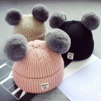 bebek yün başlık örme toptan satış-Bebek Tavşan Kürk Pom Pom Topu Örme Beanies Şapka Kış Sıcak Bebekler Yün Tığ Skullies Caps