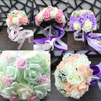 árbol de navidad blanco de china al por mayor-2017 Bouquet Cover 5 colores Champagne Pink Purple Light Green Roses Ramos de novia para bodas y San Valentín
