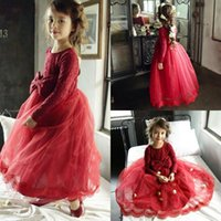 Wholesale Big Skirt Long Dress - Red Lace Long Sleeve Girls Pageant Gowns With Big Bow Tulle Puffy Skirt Flower Girl Dresses For Wedding Long Children Communion Dresses