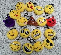 Wholesale Doll Holders - Emoji Phone Holder Cute Lovely Emoji Smiley Hanging Cartoon Emoji Cushion Pillows Yellow Round Pillow Plush Doll