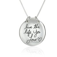 Wholesale hot live - 2017 hot 29.6x29.6MM Live The Life You Love Reversible Pendant Necklace N1664 24 inches Chains