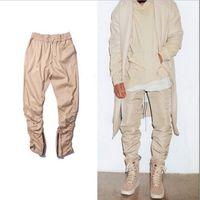 Wholesale Zipper Hip Hop Harem Trouser - Wholesale-black   green   khaki justin bieber hip hop harem side zipper pants skinny mens joggers Sweatpants trousers jeans pantalon homme