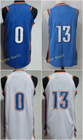 Mens 2017-18 Nova temporada 7 Carmelo Anthony 0 Russell Westbrook 13 Paul George Jersey Homens Azul Branco Laranja UCLA Bruins College Stitched