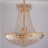 lustre de cristal real venda por atacado-Frete Grátis Império Real de Cristal De Ouro lustre de Luz Francês de Cristal Luzes Pingente de Teto D500mm X H450mm