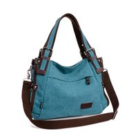 Wholesale School Bags Handbags - Wholesale-2016 women canvas bag casual vintage shoulder bag fashion school bags for teenagers and teenage girls blue red khaki handbag