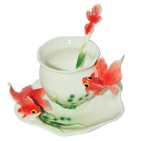 Wholesale Money Cup - Fine Art Porcelain Ceramic Fish Goldfish Coffee Tea Set Cup Sauce Spoon+Gift Box