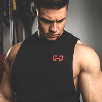 Wholesale Long Tank Top Vest - 2017 Euramerica Tank Tops For Men Bodybuilding Mens Muscle Tanks Tops Fitness Stringer Cotton Vest Shirts