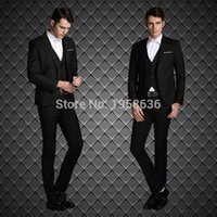 Wholesale Trajes Hombre Fashion - Wholesale-Hot Sale Men Suit Black Color Blazer Jacket Pants High Quality Fashion 2016 Elegant Tuxedo Trajes De Hombres De Vestir