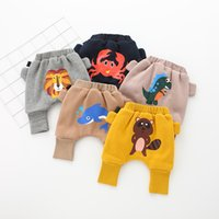Wholesale pink tiger cartoon resale online - 2017 New Winter ins Baby PP pants Dinosaur Tiger Dolphin Animal printing baby cartoon warm PP pants Colors