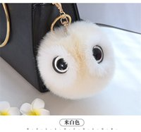 Wholesale Owl Ear Rings - New 2017 Lovely Fluffy Faux Rabbit Ear Fur Ball Key Chain Rings Pompon Owl Keychain Cars Women Bags Jewelry For Maitresse