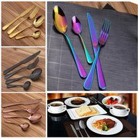 Wholesale Dinner Plates Wedding - Stainless Steel Cutlery Set Rainbow Gold Plated Dinnerware Fork Knife Spoon Dinner Set for Wedding Party 4pcs set OOA2712