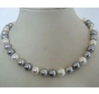 Wholesale Necklace Two One - Charming 9-10mm tahitian two gray one white pearl necklace 18inch 925 silver clasp