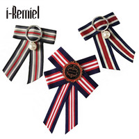 Wholesale Korean Collar Shirt Women - 2017 Sale Real Brooches For Women Pin Korean Wild Fashion Fabric And Striped Corsage Bow Brooch Collar Shirt Accessories Female