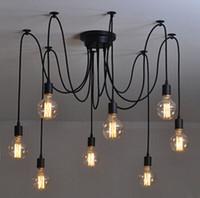 Wholesale new lamp bulb wire resale online - New net Retro classic chandelier E27 spider lamp pendant bulb holder group Edison diy lighting lamps messenger wire