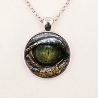 Wholesale Crystal Glass Gift - 1 PC Free Shipping Glass Photo Jewelry Dragon Eye Necklace,Cat Eye Necklace,Blue Eye Necklace Glass Dome Decklace