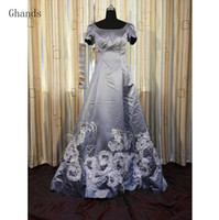Wholesale Cheap Formal Dresses Feathers - Ghands 2017 New Cheap A-Line Scoop Fur Satin Lace Feather Plus Size Formal Gowns Court Train Evening Ball Gowns Party Dress Customize Color