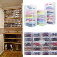 Wholesale Wholesale Shoes Modern - 10pcs in 1 High Quality Clear Foldable Plastic Shoe Storage Case Boxes Stackable Organizer Shoe Holder Hot