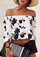 Wholesale Puff Sleeved Blouse - Fashion Totem Printed Tee Shirts Blouses Wrapped Chest Shirt Strapless Shirts Long Sleeved Tops Of Lady