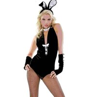 Wholesale Sexy Bunny Lingerie Cosplay - Sexy Lingerie Lady Women's Bunny Costume Rabbit Cosplay Lace Teddy Bodysuit+Ears