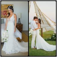 Wholesale Bride Dresses Open Back Mermaid - 2017 Sexy Deep V Neck Mermaid Lace Summer Wedding Dress Bohemian Sleeveless Open Back Boho Bridal Dresses For Bride