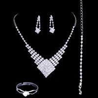 Wholesale Bridal Jewlery Sets - Fashion 2018 Bridal Jewlery Sets Rhinestone Bridal Accessories Necklace Earrings Rings Luxury Wedding Accessories Hot Sale