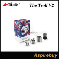 Wholesale Deep Hole - WOTOFO The Troll RDA V2 Tank 2 Post Deck with 2.7mm Post Holes 22mm Diameter Deeper Deck in 10mm Rebuildable Dripping Atomizer 100% Original