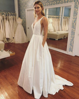 Wholesale Vintage Satin Inspired Wedding Gowns - 2017 Garden Classic Charming Wedding Dresses A Line V Neck Sleeveless Sweep Train Sequins Applique Art Deco-inspired Neck Bridal Gowns