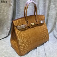Wholesale shiny leather handbags resale online - Women leather totes genuine leather crocodile grain shiny leather with strap dustbag and card more economic high quality handbags
