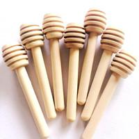 tarros cucharas al por mayor-8 cm Mini palo de miel de madera Cucharas de miel Suministro para fiestas Cuchara Cuchara Miel Tarro Palillo de alta calidad
